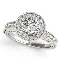 Diamond Halo Antique Style Design Engagement Ring Platinum (1.08ct)
