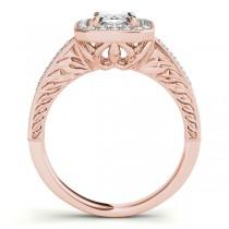 Antique Emerald Cut Diamond Engagement Ring 14k Rose Gold (1.80ct)