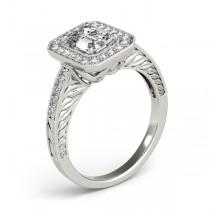 Antique Emerald Cut Diamond Engagement Ring 14k White Gold (1.80ct)