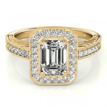 Antique Emerald Cut Diamond Engagement Ring 14k Yellow Gold (1.80ct)