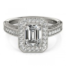 Antique Emerald Cut Diamond Engagement Ring 18k White Gold (1.80ct)