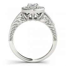 Antique Style Oval Diamond Halo Engagement Ring 14k White Gold 1.50ct
