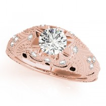 Art Nouveau Diamond Antique Engagement Ring 14k Rose Gold (0.90ct)