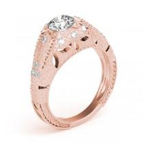 Art Nouveau Diamond Antique Engagement Ring 14k Rose Gold (0.90ct)