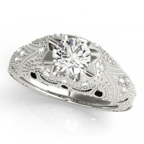 Art Nouveau Diamond Antique Engagement Ring 14k White Gold (0.90ct)