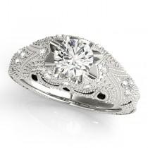 Art Nouveau Diamond Antique Engagement Ring 14k White Gold (0.90ct)