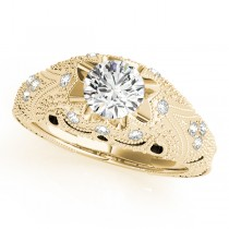 Art Nouveau Diamond Antique Engagement Ring 14k Yellow Gold (0.90ct)