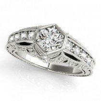 Diamond Antique Style Engagement Ring 18k White Gold (0.62ct)