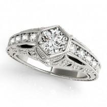 Diamond Antique Style Engagement Ring 18k White Gold (0.62ct)