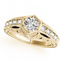 Diamond Antique Style Engagement Ring 18k Yellow Gold (0.62ct)