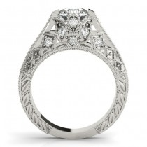 Diamond Antique Style Engagement Ring Setting 14K White Gold (0.20ct)
