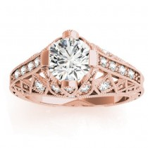 Diamond Antique Style Engagement Ring Setting 18K Rose Gold (0.20ct)