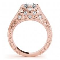 Diamond Antique Style Engagement Ring Setting 18K Rose Gold (0.20ct)