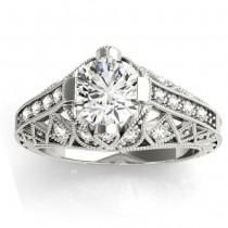 Diamond Antique Style Engagement Ring Setting 18K White Gold (0.20ct)