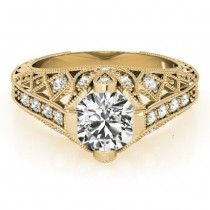 Diamond Antique Style Engagement Ring Setting 18K Yellow Gold (0.20ct)