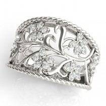 Stylish Floral Diamond Ring Band 14K White Gold (0.13ct)