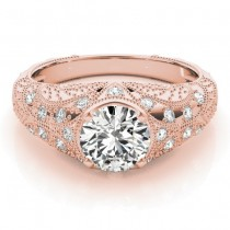 Diamond Antique Style Engagement Ring Art Deco 14K Rose Gold (0.20ct)