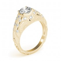 Diamond Antique Style Engagement Ring Art Deco 14K Yellow Gold (0.20ct)