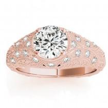 Diamond Antique Style Engagement Ring Art Deco 18K Rose Gold (0.20ct)