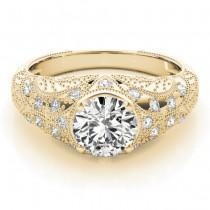 Diamond Antique Style Engagement Ring Art Deco 18K Yellow Gold (0.20ct)