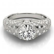 Diamond Antique Style Engagement Ring Art Deco Platinum (0.20ct)
