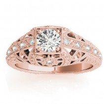 Diamond Antique Style Engagement Ring Setting 14K Rose Gold (0.12ct)