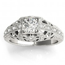 Diamond Antique Style Engagement Ring Setting 14K White Gold (0.12ct)