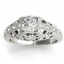 Diamond Antique Engagement Ring 14K White Gold 0.12ct
