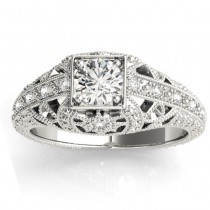 Diamond Antique Style Engagement Ring Setting Platinum (0.12ct)