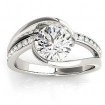 Diamond Tension Set Engagement Ring Setting 14K White Gold (0.19ct)