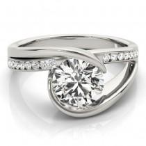 Diamond Tension Set Engagement Ring Setting 14K White Gold (0.19ct)