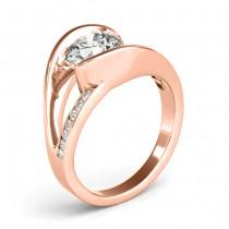 Diamond Tension Set Engagement Ring Setting 18K Rose Gold (0.19ct)