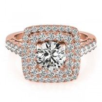 Square Double Diamond Halo Engagement Ring 14k Rose Gold (2.63ct)