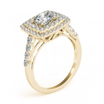 Square Double Diamond Halo Engagement Ring 14k Yellow Gold (2.63ct)