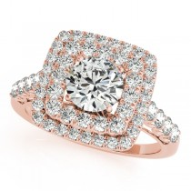 Square Double Diamond Halo Engagement Ring 18k Rose Gold (2.63ct)