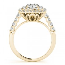 Square Double Diamond Halo Engagement Ring 18k Yellow Gold (2.63ct)