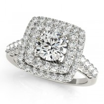 Square Double Diamond Halo Engagement Ring Palladium (2.63ct)