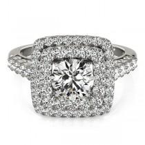 Square Double Diamond Halo Engagement Ring Palladium (2.63ct)