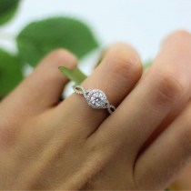 Diamond Infinity Twisted Halo Engagement Ring 14k White Gold 1.50ct