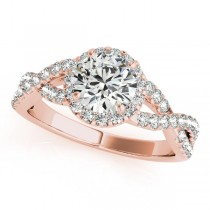 Diamond Infinity Twisted Halo Engagement Ring 18k Rose Gold 1.50ct