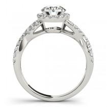Diamond Infinity Twisted Halo Engagement Ring 18k White Gold 1.50ct