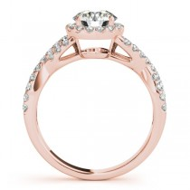 Moissanite Infinity Twisted Halo Engagement Ring 14k Rose Gold 1.50ct