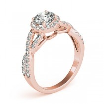 Moissanite Infinity Twisted Halo Engagement Ring 18k Rose Gold 1.50ct