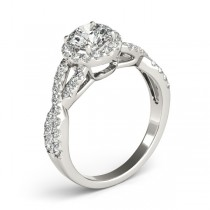 Moissanite Infinity Twisted Halo Engagement Ring 18k White Gold 1.50ct