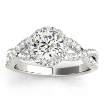 Diamond Decked Two Sided Infity Shape Engagement Ring Setting 14k White Gold (0.52ct)