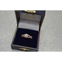 Diamond Infinity Twisted Halo Engagement Ring 14k Rose Gold 1.00ct