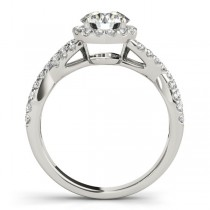 Diamond Infinity Twisted Halo Engagement Ring 14k White Gold 1.00ct
