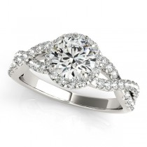 Diamond Infinity Twisted Halo Engagement Ring 18k White Gold 1.00ct