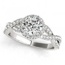 Diamond Infinity Twisted Halo Engagement Ring 18k White Gold 2.00ct