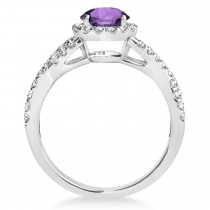 Amethyst & Diamond Twisted Engagement Ring 14k White Gold 1.20ct